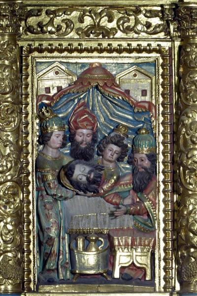 8. Presentación de la cabeza del Bautista ante Herodes.